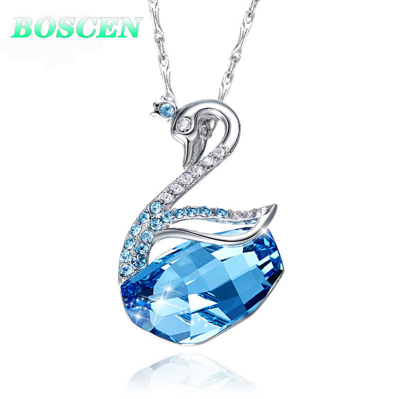 BOSCEN 925 Sterling Silver Pendant Necklace For Women Valentines Gift Swan 2019 Embellished With Crystals From Swarovski