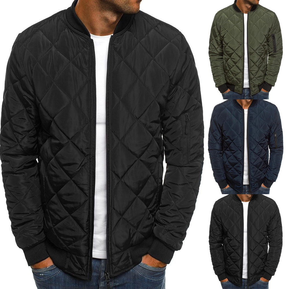 Men's Bomber Jacket Coat Winter Long Sleeve Lightweight Man Down Jacket Windproof Diamond Quilted Outwear Coat