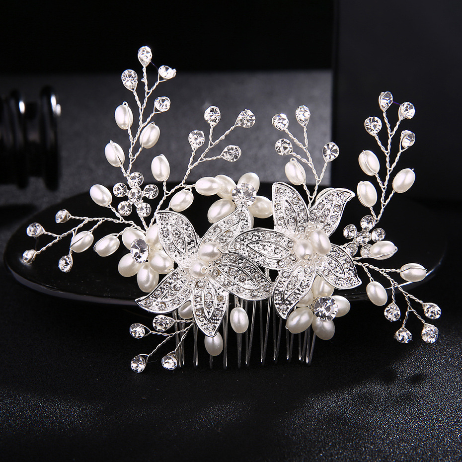 Bride Hair Headdress Combs Rhinestone Accessories Fashion Crystal Hairpins Woman Wedding Pearls Flower Hair Jewelry FS106