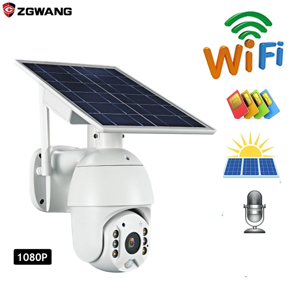 ZGWANG 1080p HD IP Camera WIFI version Shell Solar Security Camera Outdoor Indoor Security with Solar Pane