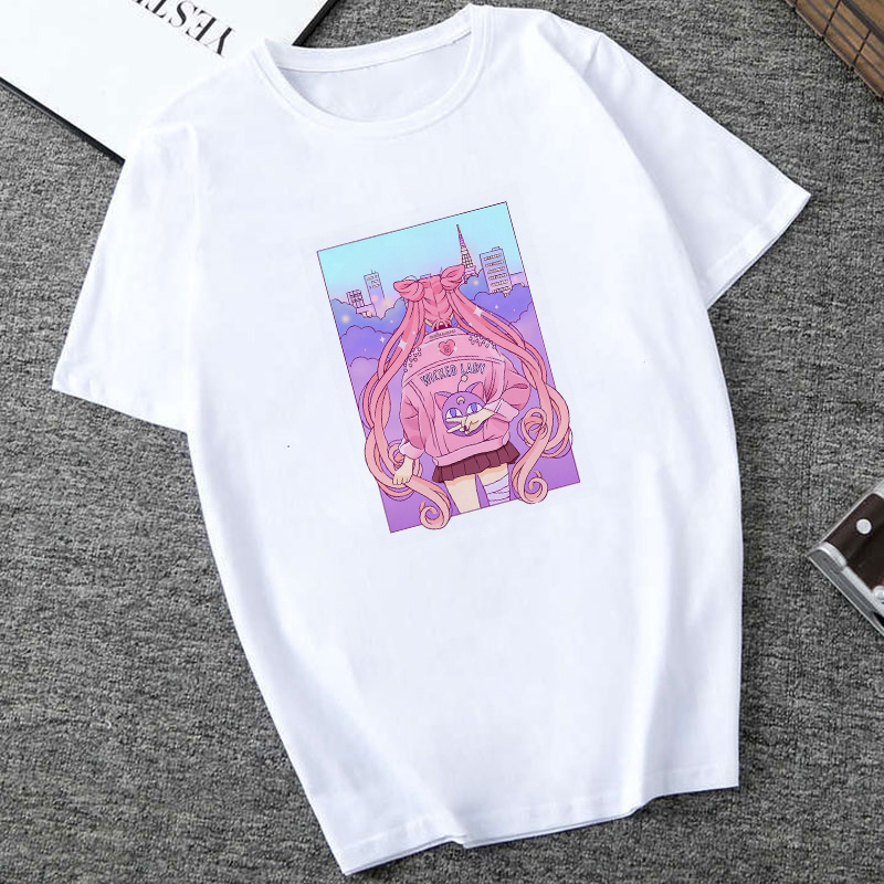 Sailor Moon Japanese Anime Summer New Fashion T Shirt Women Harajuku Short Sleeve Fun Ulzzang T-Shirt Tshirt Cartoon Top Tees