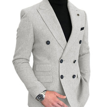Wool-Suit Blazer Jacket Wedding Double-Breasted Formal Groomsmen Prom-Tuxedos One-Piece