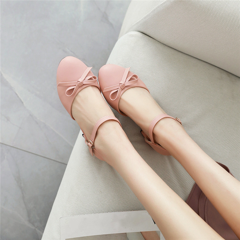 Fashion Lolita Womens Shoes Heels Summer Sweet Bowtie White Pink Chunky Heel Women Pumps Plus Size Mary Jane Party Shoes