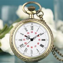 Buy 2019 Pocket Watch Noble Alloy Glod Open Face Fob Watches White Dial Roman Numerals Chain Pendant Watch montre de poche homme directly from merchant!