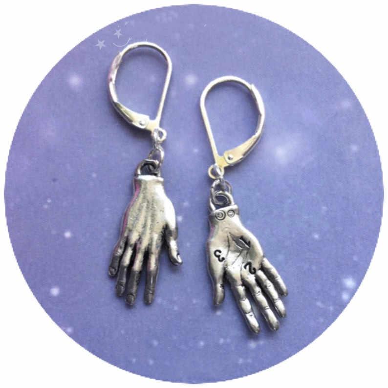 Palmistry kolczyki Fortune Teller czytnik dłoni kolczyki chiromancy w kolorze srebrnym lub złotym tajemnica biżuteria wisiorek kobieta prezent