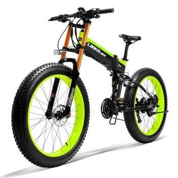 """LANKELEISI-Bicicleta eléctrica con neumático ancho, de 26 """", 48V, 1000W, potente y plegable, con batería de ion de litio 14,5 a"""