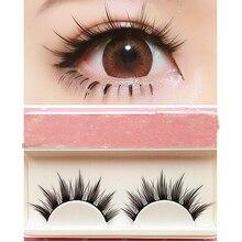 Natural Long Cosplay Makeup Cross Strip False Eyelashes Black Eye Lashes s4