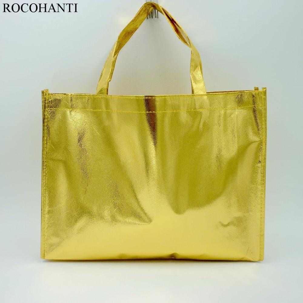 Promotional Reusable  Polypropylene Non Woven PP Laminated Shopping Bag Gold Color 11.8*15.7*3.9inch
