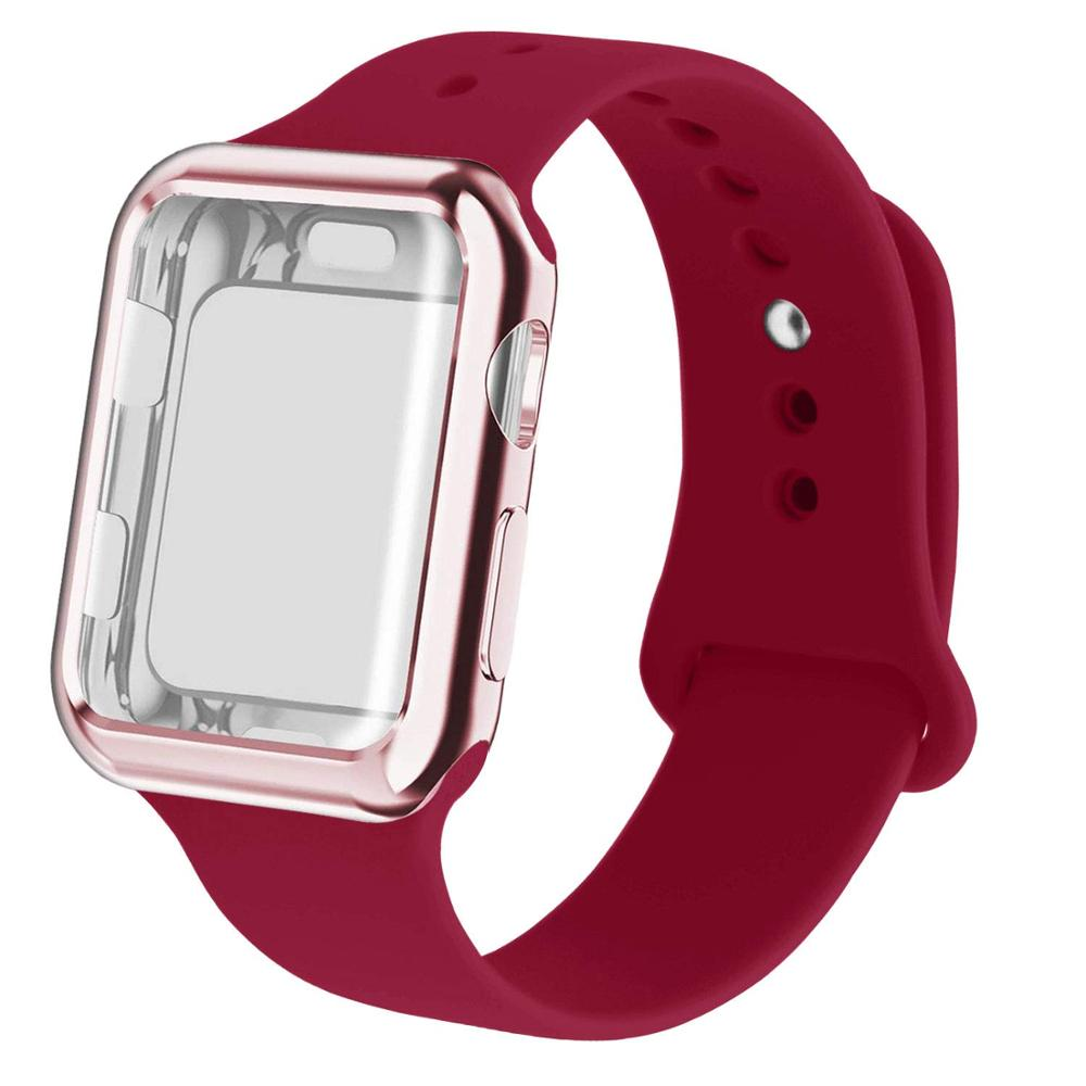 Case+<font><b>watch</b></font> silicone strap for <font><b>apple</b></font> <font><b>watch</b></font> 5 4 band correa 44mm <font><b>42mm</b></font> 38mm 40mm iwatch 3 <font><b>2</b></font> silicone <font><b>pulseira</b></font> bracelet <font><b>watch</b></font> band image