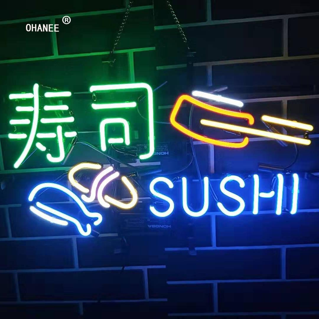 Sushi nourriture japonaise enseigne au néon lumière véritable verre néon Tube à la main bière Bar boutique Logo Pub magasin Club discothèque publicité