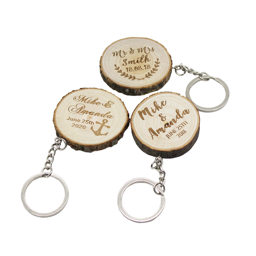 50Pcs Personalized Keychains Engraved Slice keyrings Wood Wooden Wedding Decor Party Baby Shower Party Gift Wedding Favor