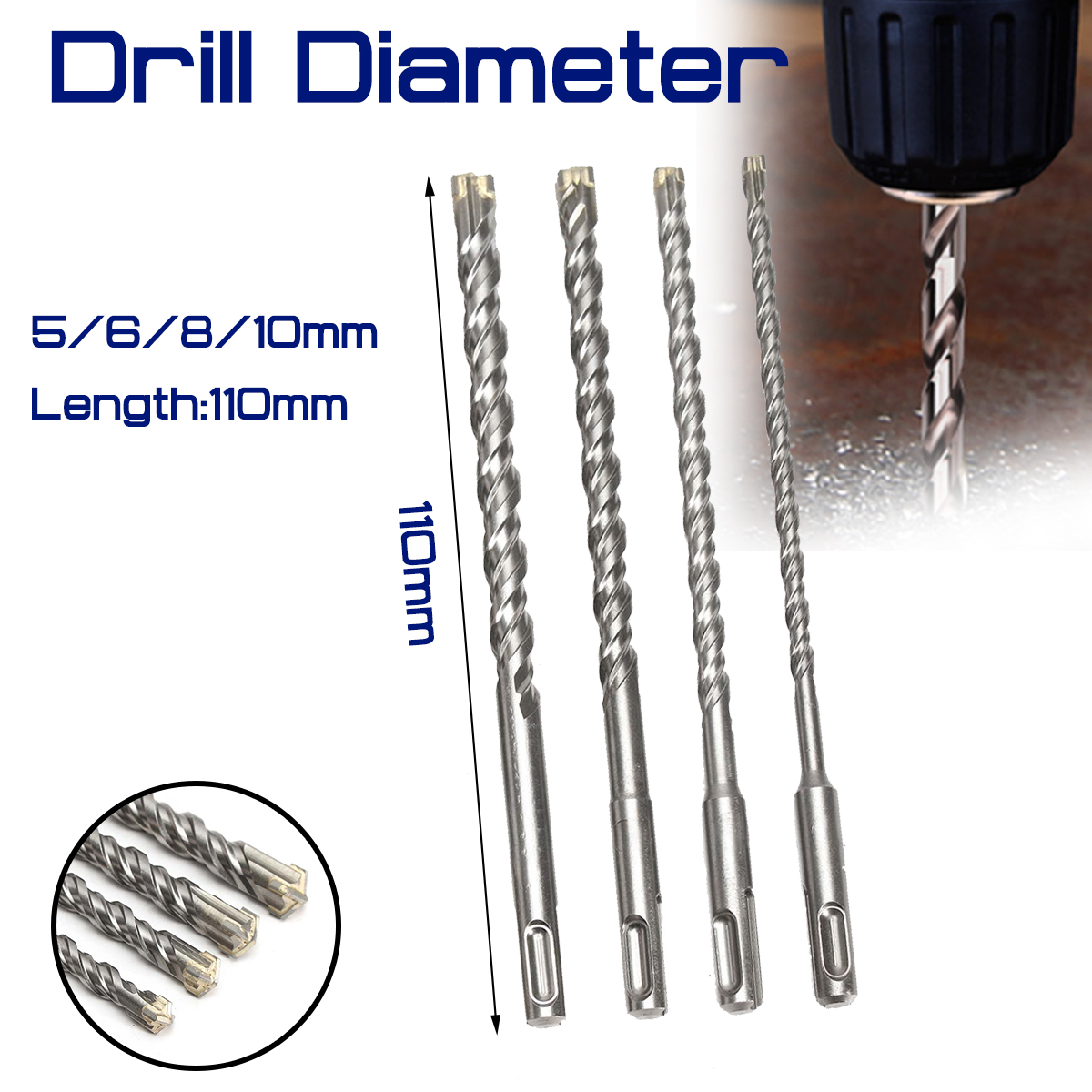 For Electric Dril 11cm Concrete Drill Bit Double SDS Plus Slot Masonry Hammer Head Tool 5/6/8/10mm High Speed White Steel Wrench