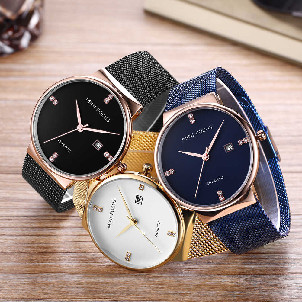 MINI FOCUS hommes montre de mode marque de luxe montres étanche maille acier affaires Quartz montre-bracelet relogio masculino