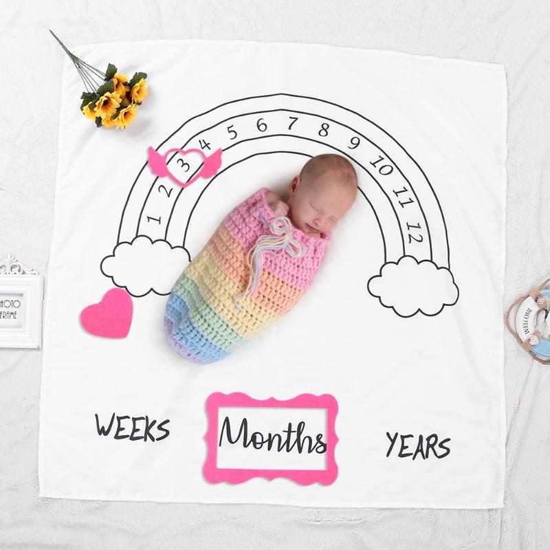 3Pcs/set Newborn Baby Growth Milestone Celebration Blanket Props Photography Background Cloth Accessories Photo Frame Girls