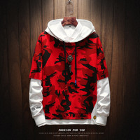 hot men's hoodie camouflage hooded sweatshirt fashion casual men's personality pleated raglan sleeves hooded pullover