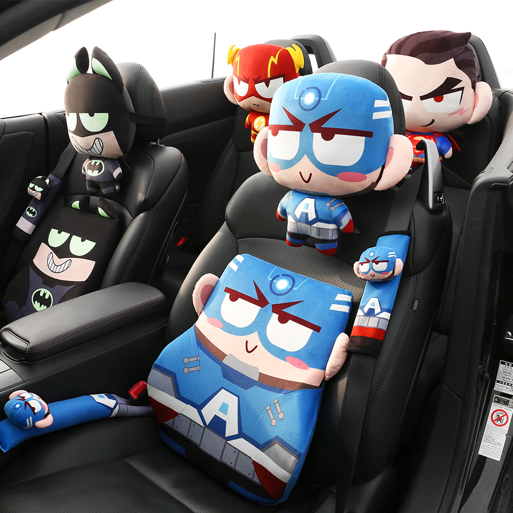 Twocities Cartoon Marvel Hero Car Headrests Head Pillow Neck Pillows Support Safety Seat Belts Cover Padding Shoulder Protector