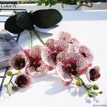 Luxe Latex Orchidee Met Bladeren Kunstmatige Bloem Witte Vlinder Orchideeën Valse Bloem Voor Thuis Bruiloft Decoratie Flores
