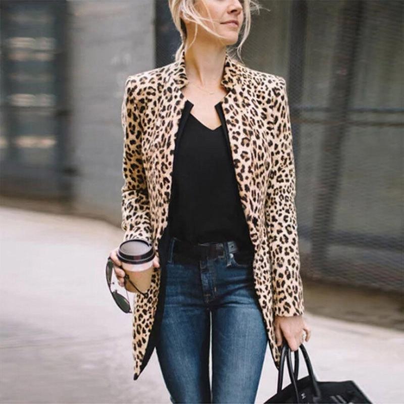 Blazer Women Leopard Print Long Sleeve Suit Coat Biker Jacket Outwear Tops Women\'s Winter Long Blazer Mujer