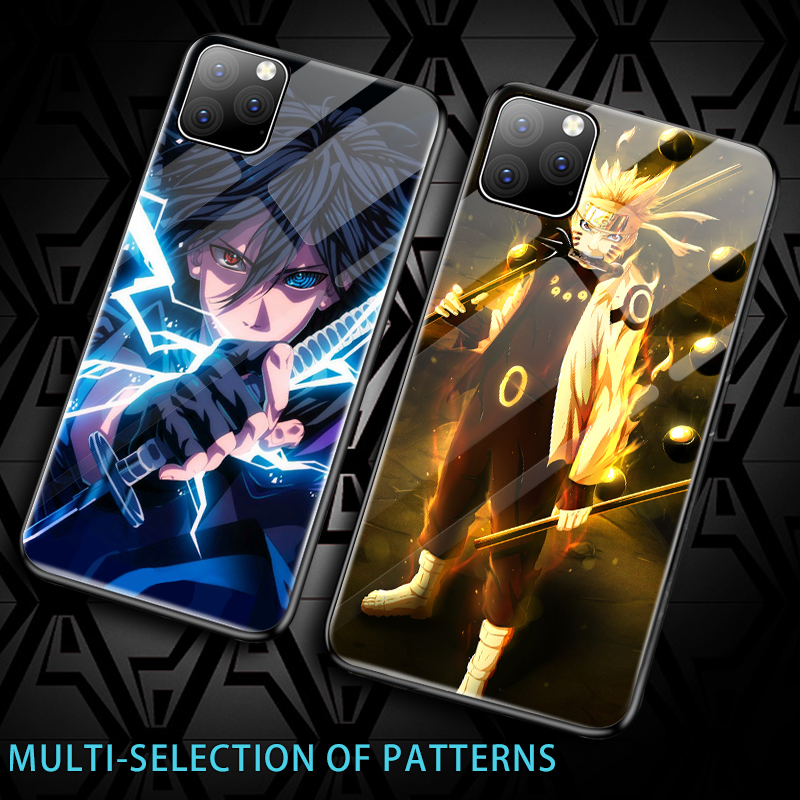 Galleria fotografica Luxury Cartoon Naruto Tempered Glass Phone Case For iPhone 11 Pro Max XSmax XR XS X 8 7 6s 6 Plus Silicone Painted Cover Coque