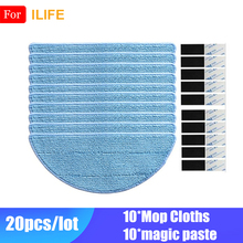 цена на 10* Mop Cloth +10*Magic Paste Accessories For Ilife V50 V55 V5 V5s V5s pro V3 V3s pro x5 ILIFE V7 Robot Vacuum Cleaner Parts