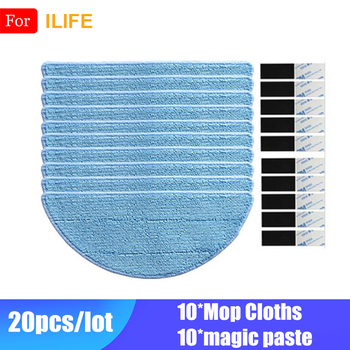 10* Mop Cloth +10*Magic Paste Accessories For Ilife V50 V55 V5 V5s V5s pro V3 V3s pro x5 ILIFE V7 Robot Vacuum Cleaner Parts