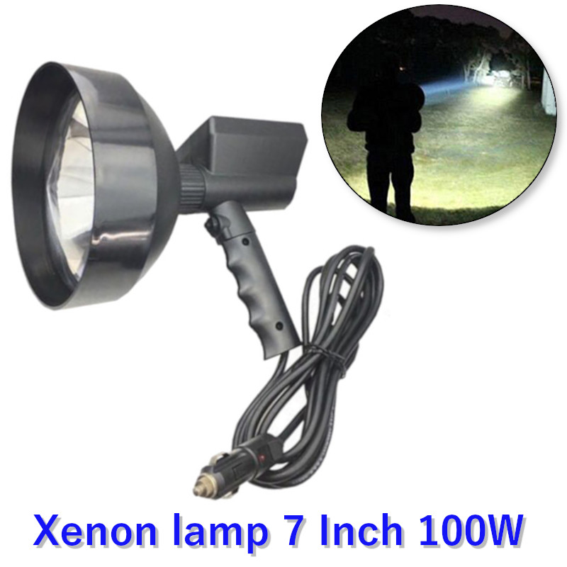 High Power Xenon Lamp Searchlight 7 Inch 100W Super Bright Outdoor Handheld Hunting Patrol Vehicle Searchlights Adventure Lamp