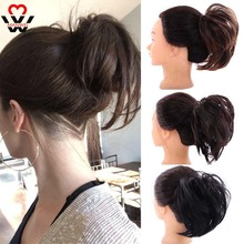 MANWEI Women Messy Elastic Rubber Band Straight Bun Donut Chignon Synthetic Scrunchie Wrap On Hair Ring For Ponytail Hairpieces