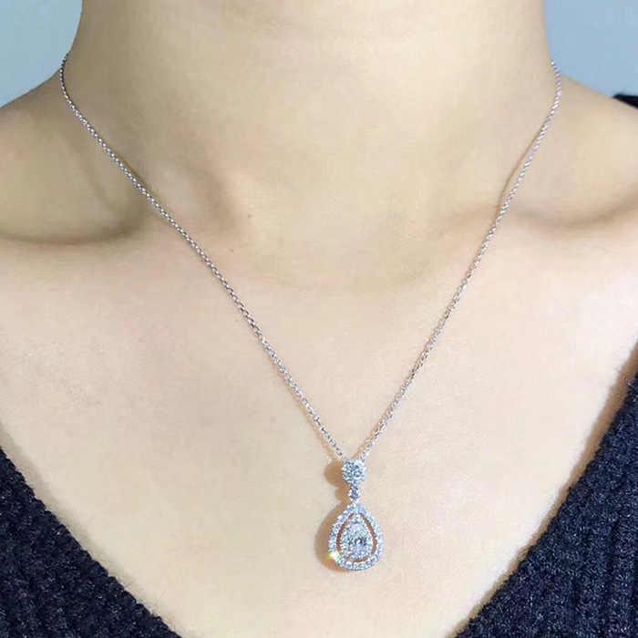 Collar de Color plata 925 sólido colgante de Diamante Real para mujer boda Bizuteria Topacio colgante de joyas de piedras preciosas collares S925