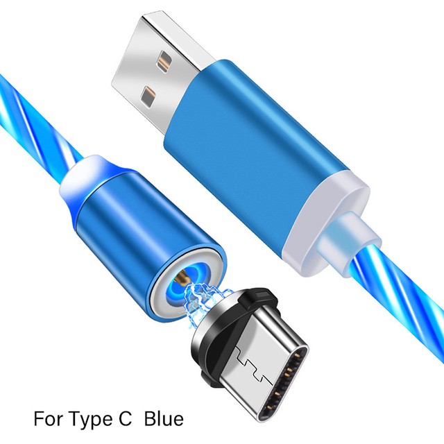 2m Magnetic Charging Mobile Phone Cable USB Type C Flow Luminous Lighting Data Wire for Samsung Huawei xiaomi LED Micro Kable