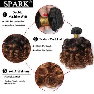 Image 3 - SPARK Human Hair Ombre Loose Bouncy Curly Bundles With Closure Brazilian Hair Weave Bundles With Closure Human Hair Extensions