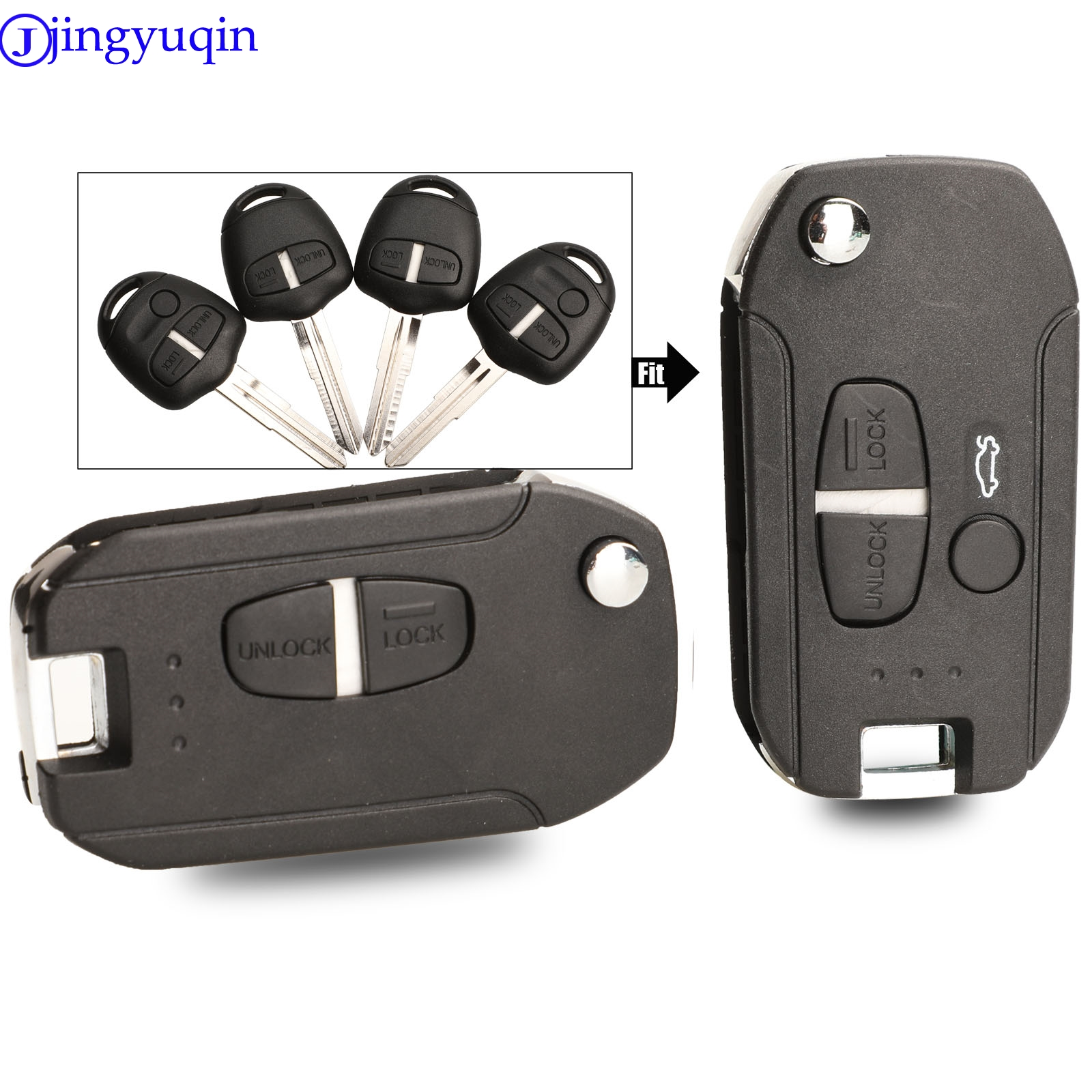 Jingyuqin 2/3 кнопки модифицированный чехол для ключей чехол для Mitsubishi Lancer Evo Colt Outlander Mirage Keyless (правое лезвие)