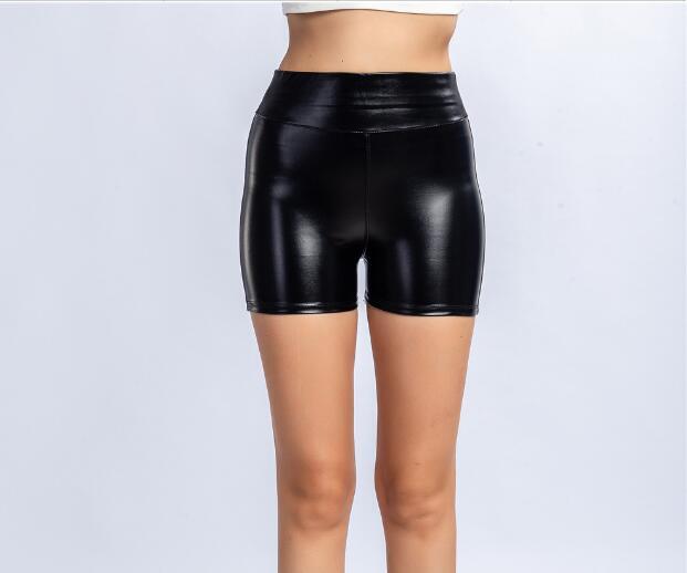 Fashion Skinny Shorts For Women Summer Booty Night Club Sexy Black Shorts Sports Sweatpants PU Leather Bottom Plus Size 3XL