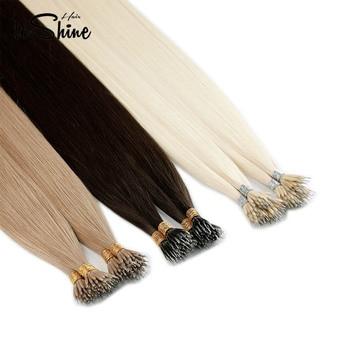Leshine  Remy Micro Bead Hair Extensions 50pcs/Pack 20'' Straight Hair Nano Rings Hair Extension Human Hair Extensions Blown