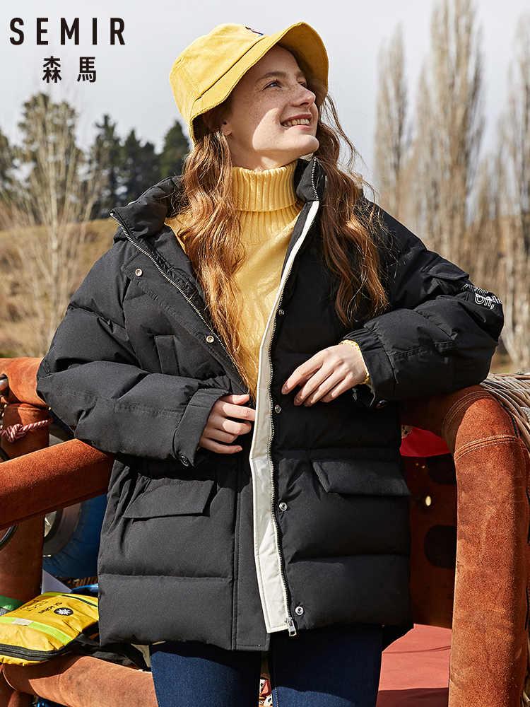 SEMIR 2019 winter neue werkzeug unten jacke frauen bf wind stehkragen mit kapuze raglan sleeves warme mädchen winter mantel