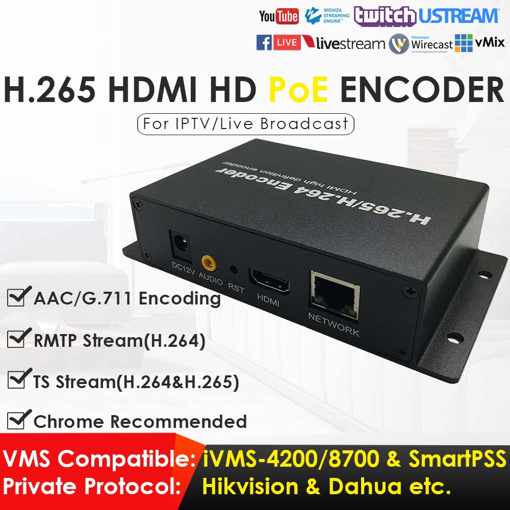 1080P Network Video Encoder H.265 H.264 PoE HDMI Video Encoder For IPTV Live Broadcasting To YouTube RTMP RTSP TS UDP ONVIF AAC
