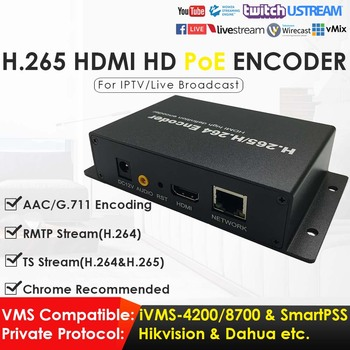 1080P Network Video Encoder H.265 H.264 PoE HDMI Video Encoder for IPTV Live Broadcasting to YouTube RTMP RTSP TS UDP ONVIF AAC bluetv hongkong taiwan chinese live channels video on demand iptv box