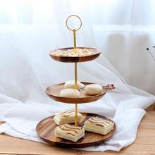 3 Tier Dessert Trays Multifunctional Wooden Fruit Dishes and Living Room Candy Trays Storage and Display European Style