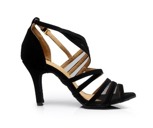 Image 5 - Factory Direct Salsa Jazz Ballroom Latin Dance Shoes For Dancing Women Training Dancers Dances Stylish Heel Black Sandals 7036