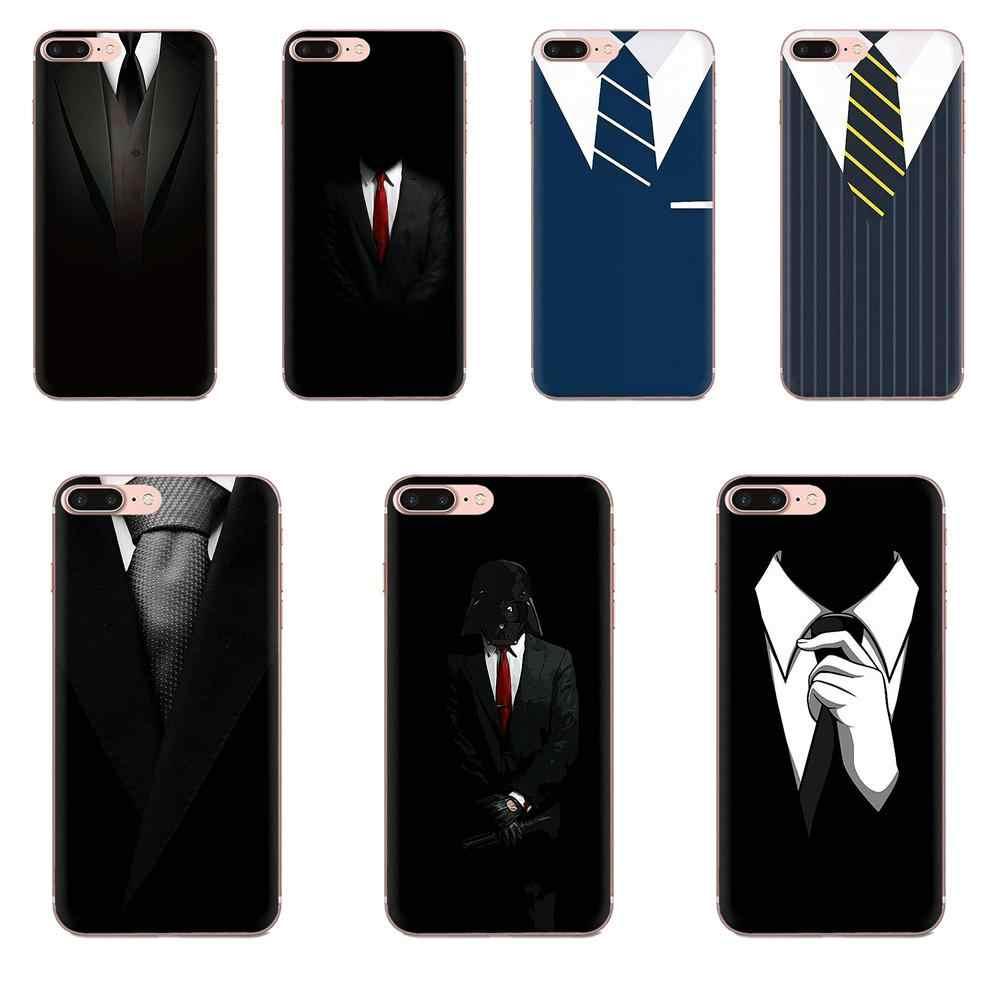 Coque Unique transparente TPU chemises pour hommes lignes de cravate pour Samsung Galaxy Note 5 8 9 S3 S4 S5 S6 S7 S8 S9 S10 5G mini Edge Plus Lite
