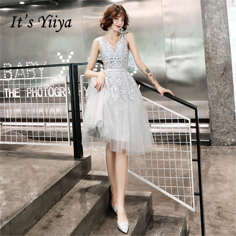 It's Yiiya Cocktail Dress Lace Gray V-neck Party Dresses Elegant Sleeveless Formal Dresses Knee Length Robe Cocktail E1372