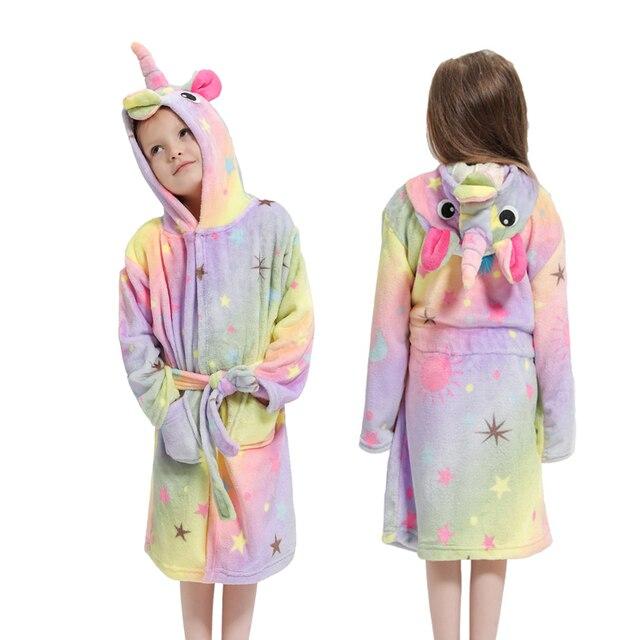 Kugurumi-Robe dhiver en flanelle pour enfants | Pyjama à capuche, motif licorne, vêtements de bain, motif Animal, pour garçons et filles
