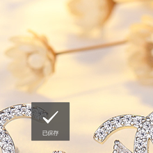 RIALN micro-inlaid zircon earrings sweet and romantic temperament female bow double C letter earrings
