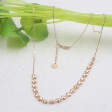 ONSALE Pure 18K Rose Gold Chain 4mmW Many Five-star O Link For Women Chain 18''L Adjustable(China)