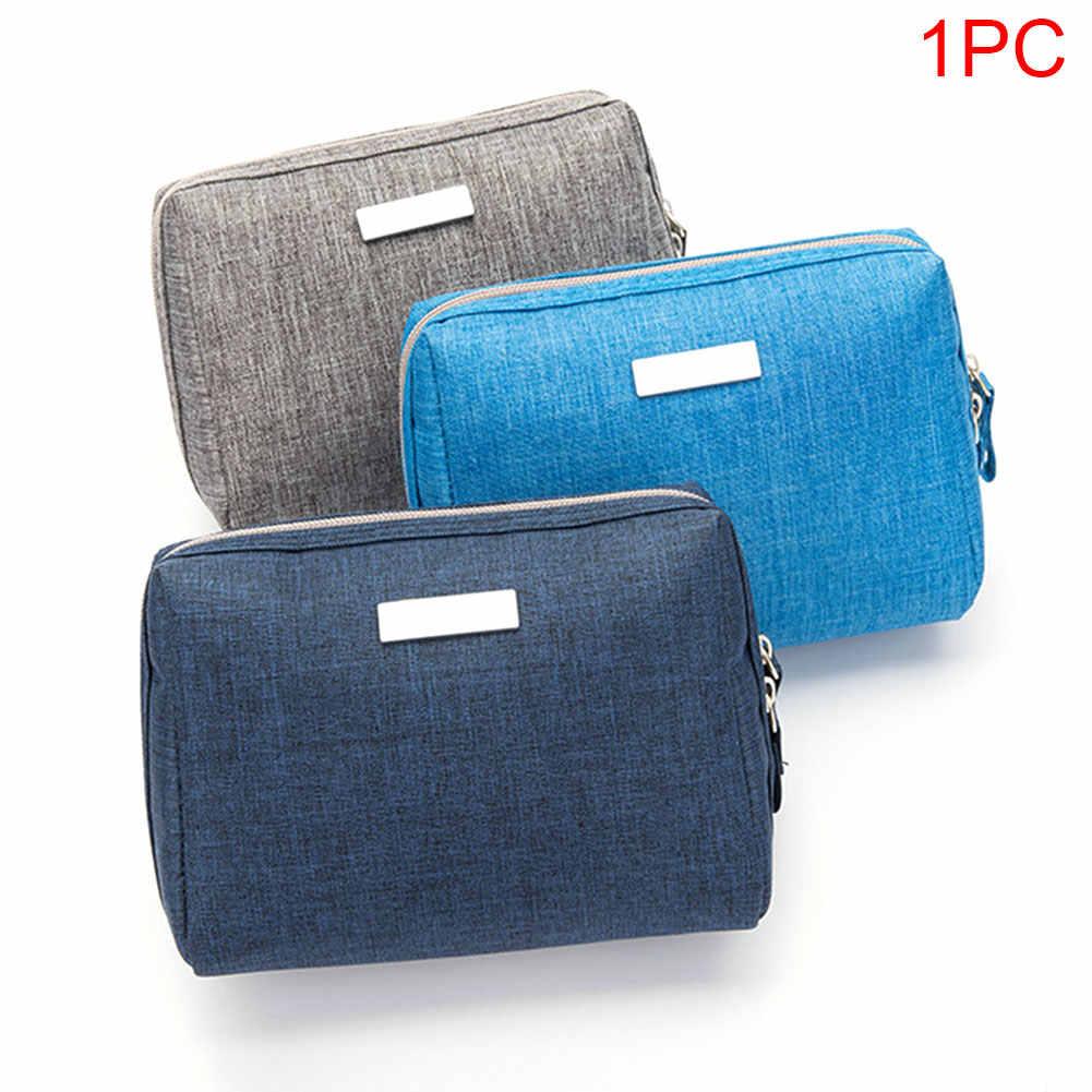 Сумка для путешествий из полиэстера, женская маленькая мини-модная косметичка на молнии, портативный туалетный кошелек, сумка для макияжа, простая