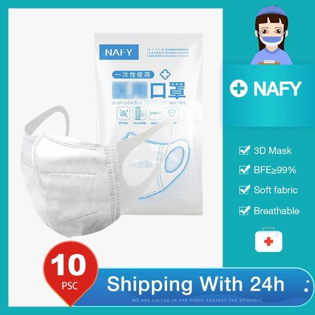 【10pcs/Bag】NAFY 3D Disposable face mask protective mask 3 layer Mouth Masks Anti-fog filter mask
