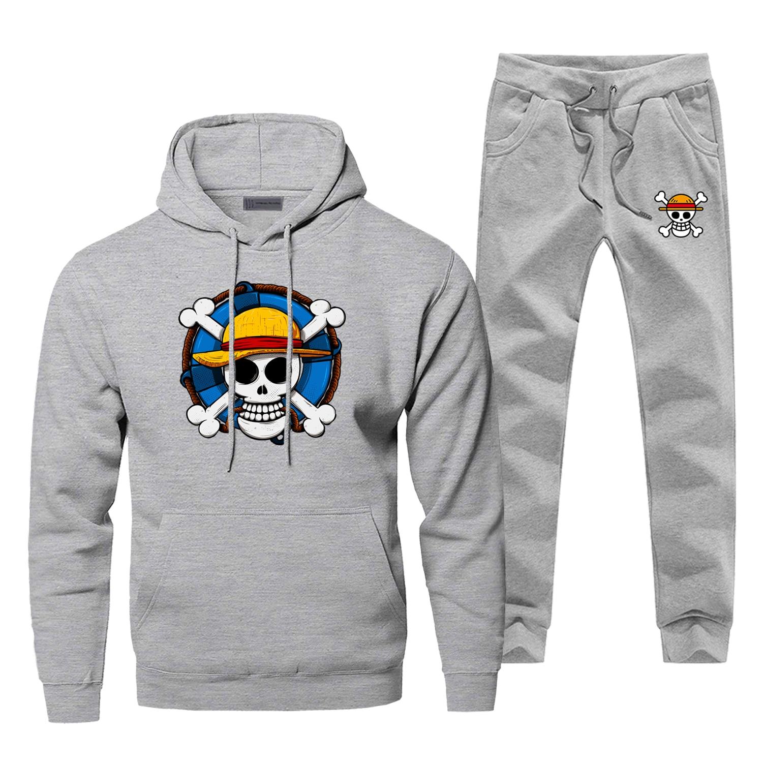 Male One Piece Hoodie Pants Set Men Skull Luffy Sweatshirt Male Hoodies Sweatshirts Mens Sets Two Piece Pant Pullover Hoody Coat