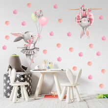 Pink Ballerinas Bunny  & Polka Dots Sets Wall Stickers for Baby Nursery Room Decoration Wall Decals Kids Room Bedroom Decor Sets