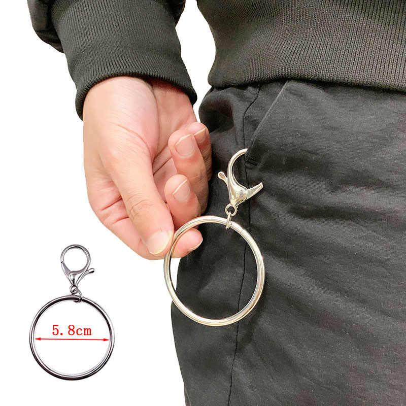 Ja pantalones metálicos cadenas para pantalón Punk cadena al estilo hip-hop cintura enlace Metal llavero plateado Jeans cintura enlace llavero joyería Z30