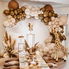 124 pçs pastel macaroon creme de pele pêssego balões garland arco kit café retro ballon casamento aniversário do chuveiro do bebê decoração da festa