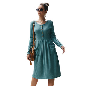 Модное Элегантное платье средней длины с круглым вырезом и длинным рукавом, Женские однотонные офисные платья на пуговицах на осень и зиму